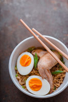 Soup Ramen noodle with chicken wing and bamboo sticks