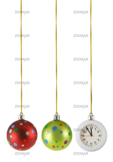 Christmas balls and hanging clock