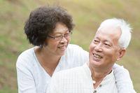 Senior Asian couple relaxing outdoor.
