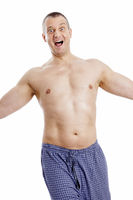 a naked man dancing in his pajama
