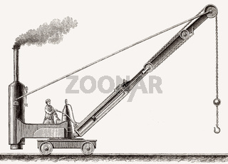 Loading crane powered by a steam engine, 19th Century