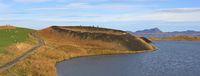 Skutustadagigar, volcanic pseudocraters at lake Myvatn, Iceland. Late summer day.