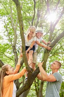 Geschwister Kinder klettern auf einen Baum