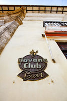 Havana, Cuba - December 12, 2016: Havana Club Bar sign t the entrance of the bar in Havana. The bar is near the famous Museum