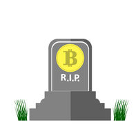 Stone Monument of Bitcoin and Green Grass on White Background