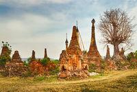 Sankar pagoda. Shan state. Myanmar. Panorama