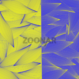 Abstract yellow and blue background with striped leaves
