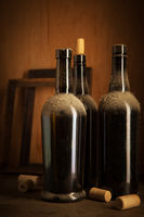 Old wine bottles and corks