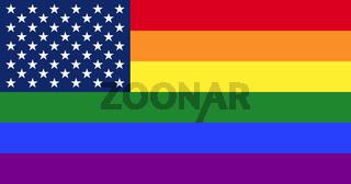 LGBT Pride Gay Regenbogenfahne mit Sternenfeld der US-Flagge