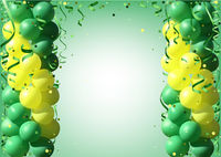 Background with Party Balloons and Confetti