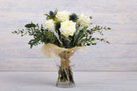 Bouquet of fresh white yellow roses