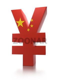3D rendering of Chinese Yuan currency symbol wrapped around with Chinese flag over white background