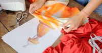 Crop female using cloth sketch