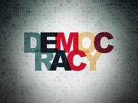 Political concept: Democracy on Digital Data Paper background