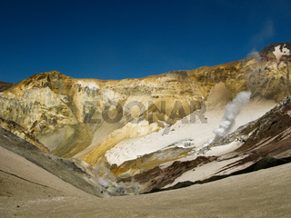 Panorama in active crater of Mutnovsky volcano, Kamchatka Russia
