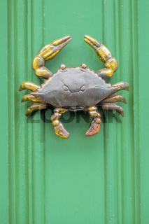 Crab Door Knocker On Green Door, Lunenburg, Nova Scotia, Canada