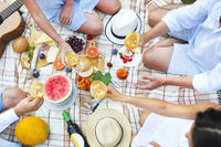 Summer picnic with white wine top view