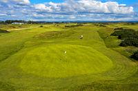 Grün auf einem Golfplatz, Golfanlage St Andrews Links, St Andrews, Fife, Schottland, Grossbritannien