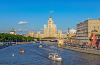 Moscow cityscape with river embankment