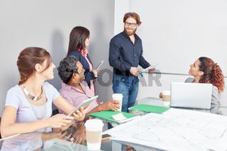 Team bei Präsentation am Whiteboard