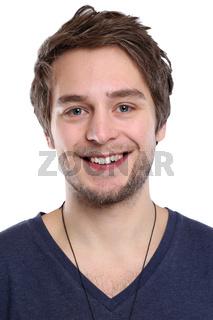 Portrait Porträt junger Mann Gesicht jung lachen Freisteller freigestellt isoliert