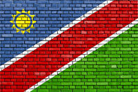 flag of Namibia painted on brick wall