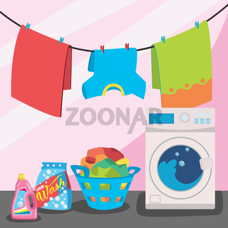 Laundry room service vector illustration, flat cartoon working washing machine with linen basket, clothesline and detergent isolated on color background.