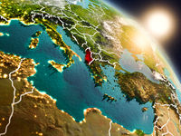 Albania from space during sunrise