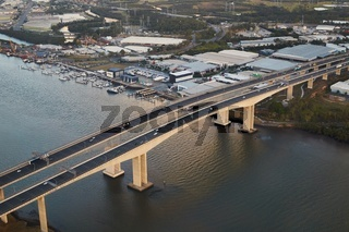 Highway bridge over river, aerial view