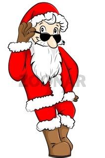 Weihnachtsmann mit Sonnenbrille