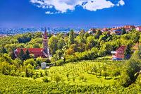 Church on green hill above croatian capital Zagreb