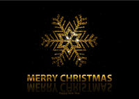 Christmas Background with Gold Snowflake