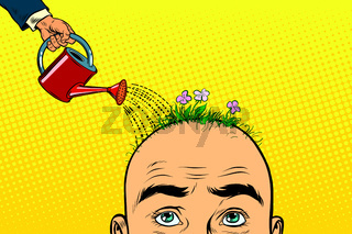 On the head of a bald man grow flowers