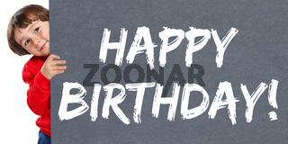 Happy Birthday alles Gute zum Geburtstag Kind kleiner Junge Schild