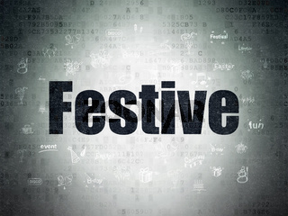 Holiday concept: Festive on Digital Data Paper background