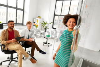woman showing scheme to creative team at office