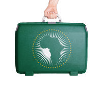 Used plastic suitcase with stains and scratches - African Union