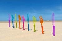 Silverware at the beach
