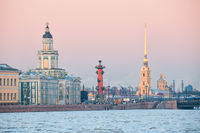 View of the St. Petersburg embankment at sunset in winter