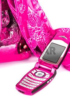 womanish handbag, scarf and mobile phone