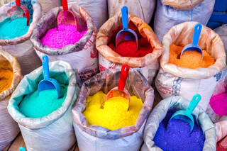 Colorful pigments in bags