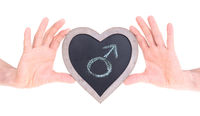 Adult holding heart shaped chalkboard - Female