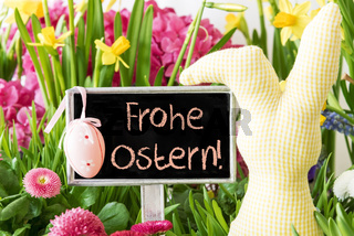 Easter Bunny, Colorful Spring Flowers, Frohe Ostern Means Happy Easter