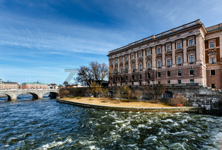 Norrbro Bridge and Riksdag Building at Helgeandsholmen Island, Stockholm, Sweden