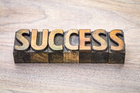 success word abstract in woodtype