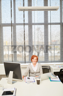 Ältere Geschäftsfrau an ihrem Arbeitsplatz