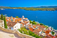 Sibenik waterfront and st James cathedral view from above