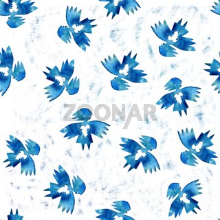 Blue angel of love with heart seamless pattern