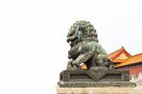 bronze lion on white