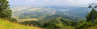 Beautiful summer panorama from Mount Tserkovka to resort of Belokurikha in the Altai Krai